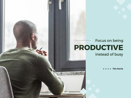 Productivity Quote with Businessman Presentation Tasarım Şablonu
