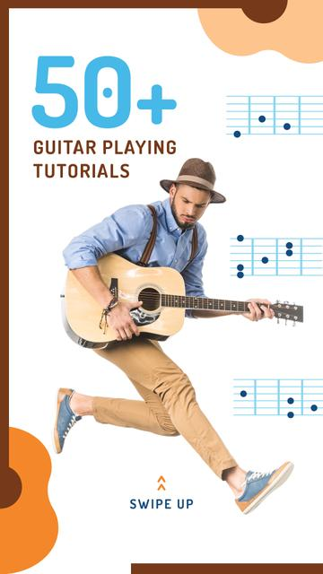 Man Playing Guitar and Jumping Instagram Story Modelo de Design