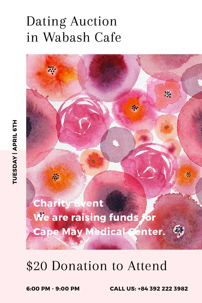 Dating Auction announcement on pink watercolor Flowers — Crea un design