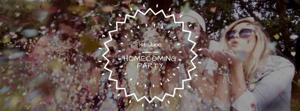 Happy people blowing confetti at Party — Crear un diseño