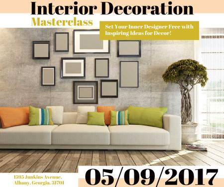 Interior decoration masterclass with Sofa in room Facebookデザインテンプレート