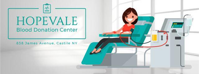 Modèle de visuel Woman donating blood in clinic - Facebook Video cover