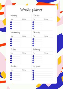 Weekly Planner on Colourful Pattern