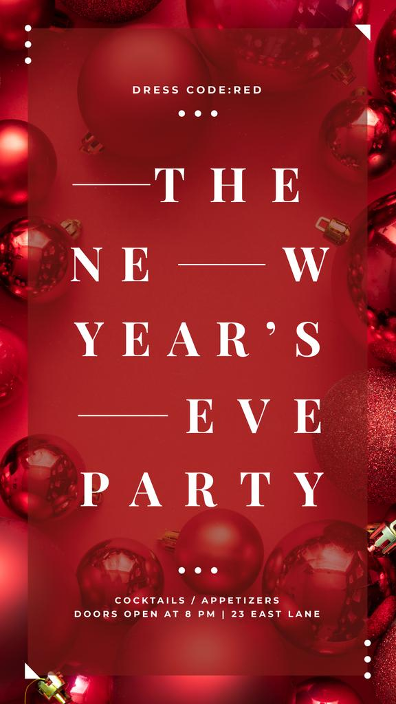 New Year Party Invitation Shiny Red Baubles — ein Design erstellen