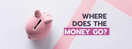 Budgeting concept with Piggy Bank Facebook cover Tasarım Şablonu