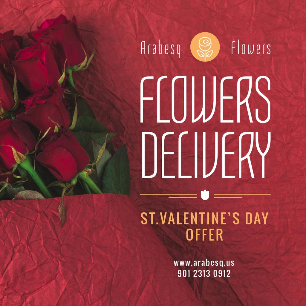 Valentine's Day Flowers Delivery in Red — Modelo de projeto