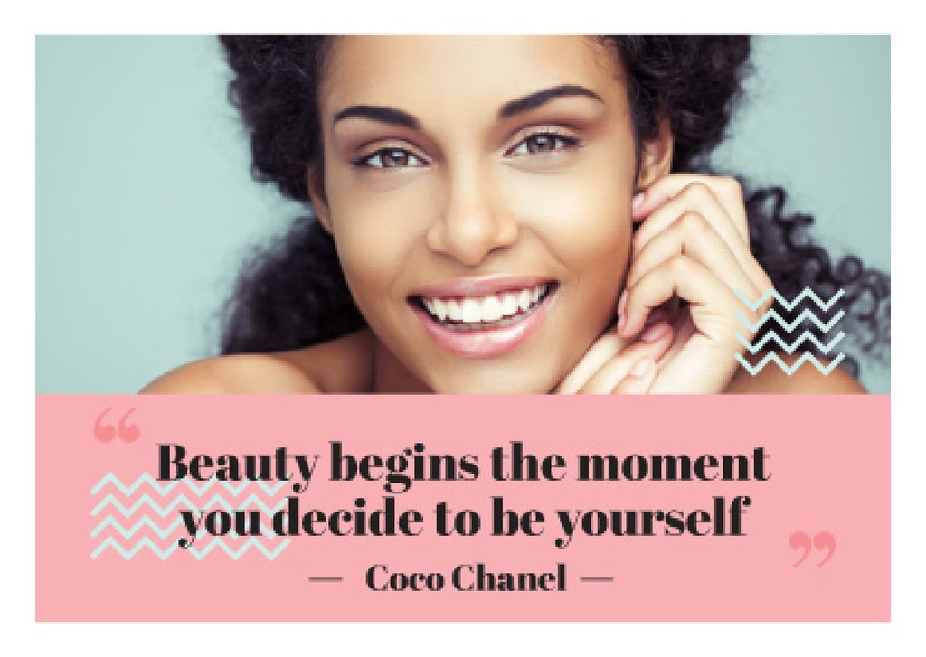 Beautiful young woman with inspirational quote of Coco Chanel —デザインを作成する
