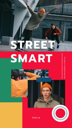 Plantilla de diseño de Fashion Ad with Young Skaters Instagram Story