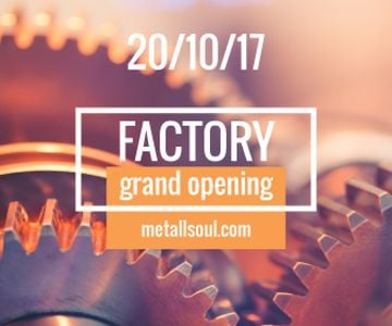 Factory Opening Announcement Mechanism Cogwheels | Large Rectangle Template