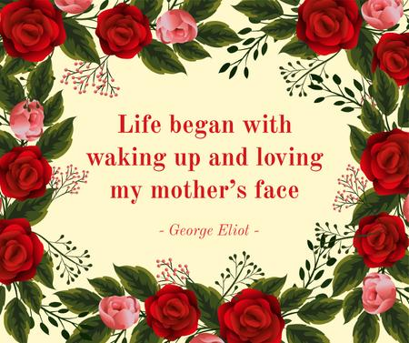 Mother's Day greeting with red Roses frame Facebook – шаблон для дизайна