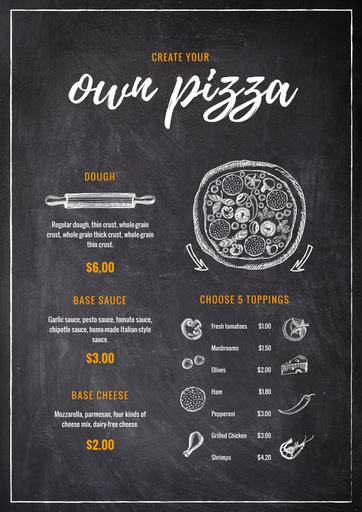 Italian Pizza On Chalkboard