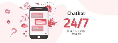 Online Chat on Phone Screen Facebook cover – шаблон для дизайну