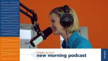 Radio Podcast Announcement Smiling Presenter