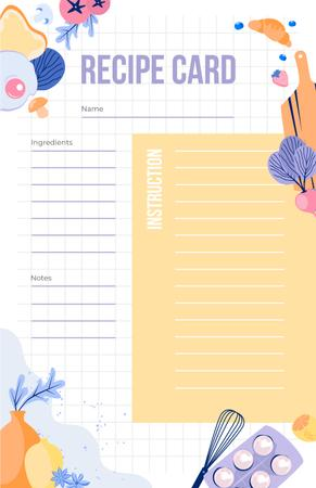 Cute illustration of Food and Kitchen Tools Recipe Card Modelo de Design