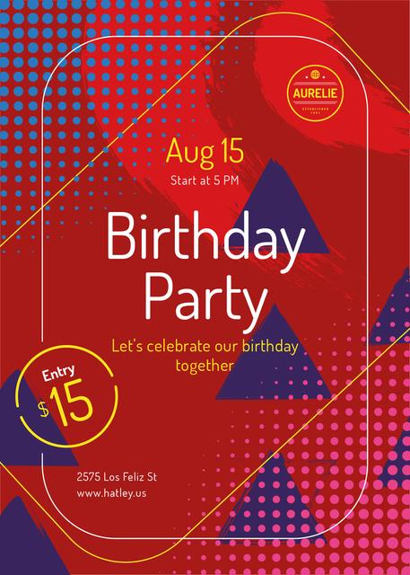 Birthday Party Invitation Geometric Pattern in Red Invitationデザインテンプレート