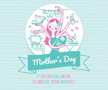 Ontwerpsjabloon van Facebook van Mother's Day Greeting Wonder mom with baby
