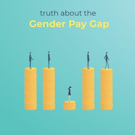 Gender inequality on earnings Animated Postデザインテンプレート