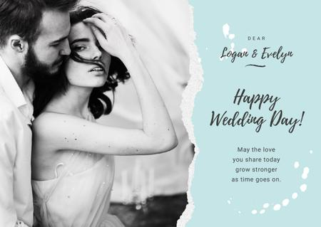 Szablon projektu Wedding Greeting Tender Embracing Newlyweds in Blue Card