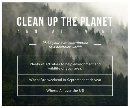 Modèle de visuel Clean up the Planet Annual event - Large Rectangle