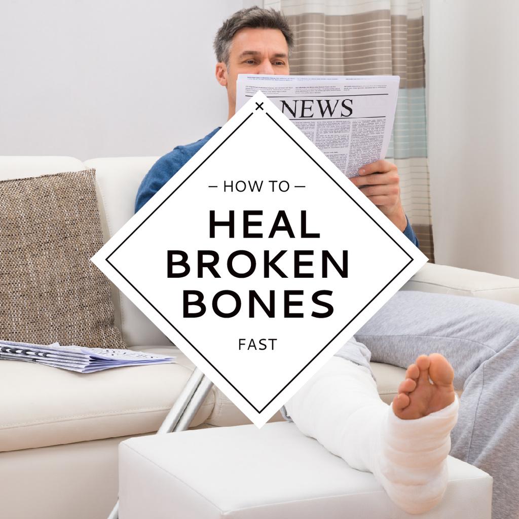 Man with Broken Leg reading Newspaper Instagram AD – шаблон для дизайна