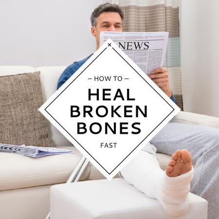 Designvorlage Man with Broken Leg reading Newspaper für Instagram AD