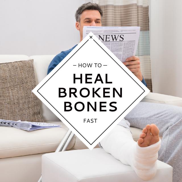 Man with Broken Leg reading Newspaper Instagram AD Design Template