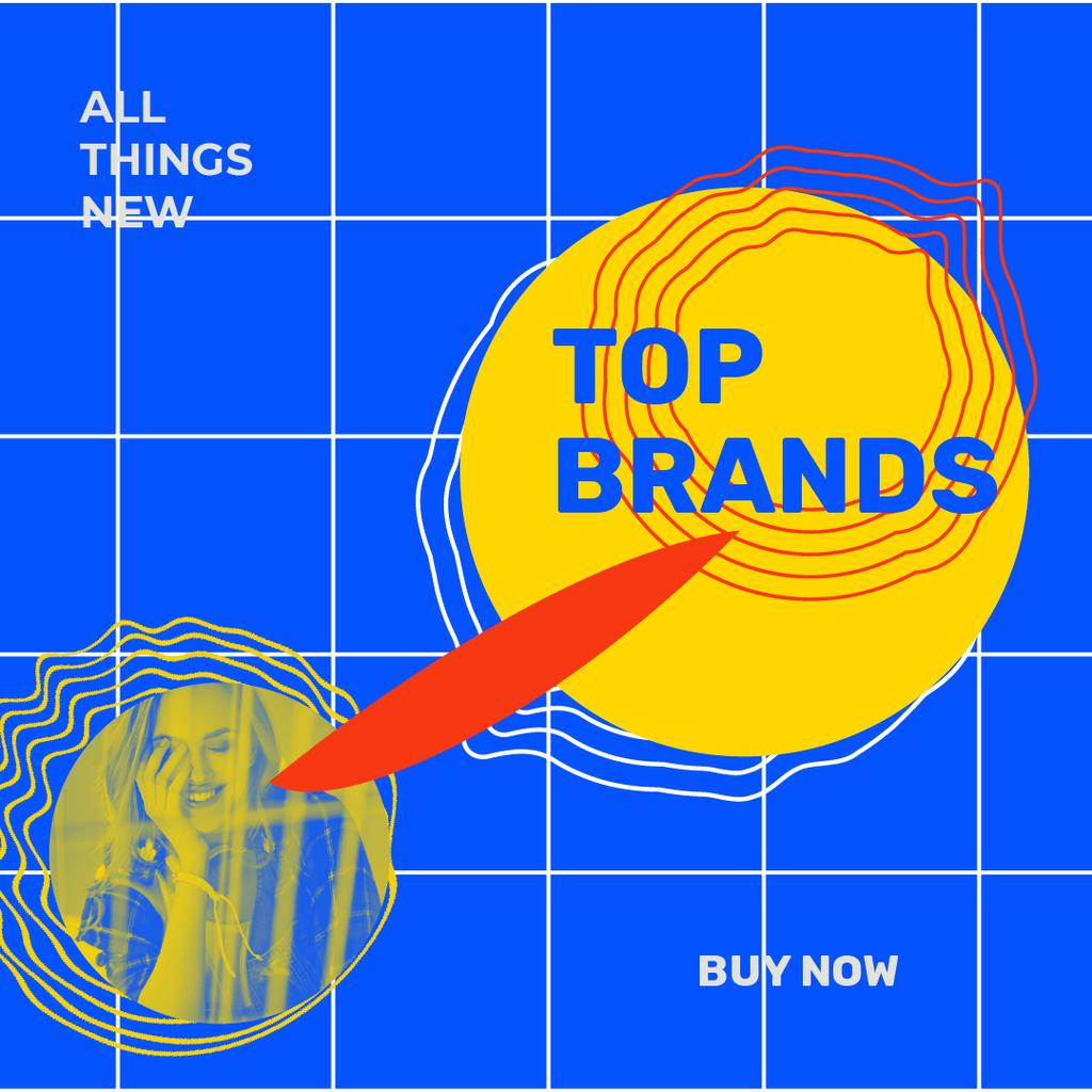 Fashion Brands store Ad with smiling Woman — Modelo de projeto