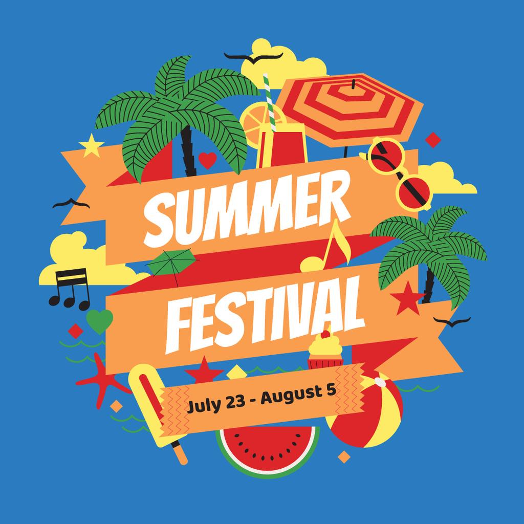 Ontwerpsjabloon van Instagram van Summer Festival Announcement with Beach Attributes