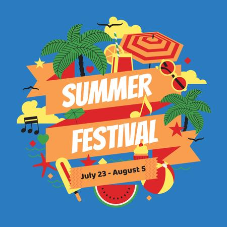 Ontwerpsjabloon van Instagram van Summer Festival Announcement with Beach Attributes