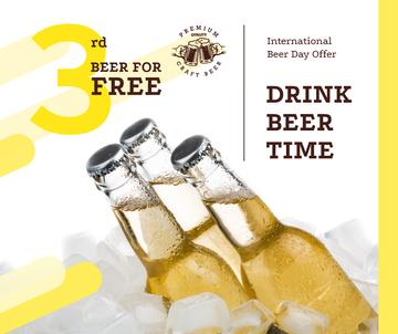 Beer Day Offer Bottles on Ice | Facebook Post Template