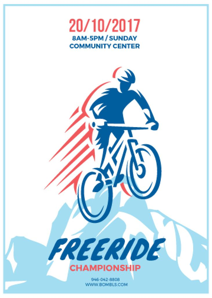 Freeride Championship Announcement Cyclist in Mountains — Створити дизайн