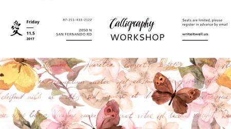 Calligraphy Workshop Announcement Watercolor Flowers FB event cover Modelo de Design