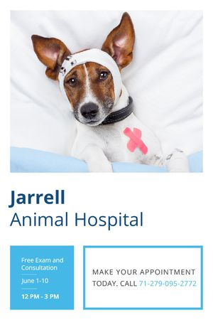 Plantilla de diseño de Animal Hospital Ad with Cute injured Dog Tumblr