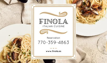 Modèle de visuel Italian Restaurant with Seafood Pasta Dish - Business card
