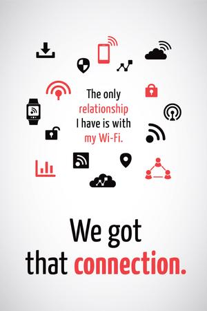 Ontwerpsjabloon van Tumblr van Wi-Fi technology sign and icons