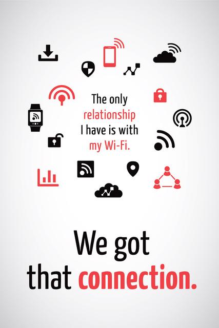 Wi-Fi technology sign and icons Tumblr Tasarım Şablonu