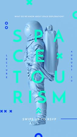 Plantilla de diseño de Space Tourism Man in Astronaut Suit in Blue Instagram Story