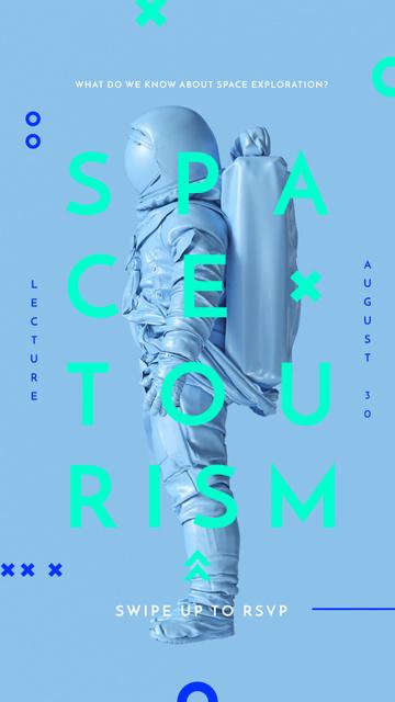 Space Tourism Man in Astronaut Suit in Blue Instagram Story – шаблон для дизайну