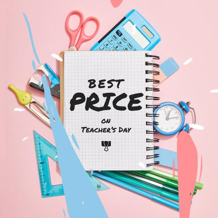 Szablon projektu Teacher's Day Sale Offer with Stationery Frame Animated Post