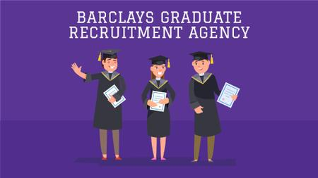Recruiting Agency Ad Happy Graduates with Diplomas Full HD video Design Template