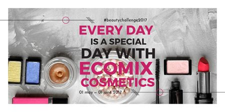 Cosmetics Kit Ad Twitter Design Template