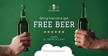 Special Offer on St.Patricks Day with friends holding Beer Facebook AD Design Template