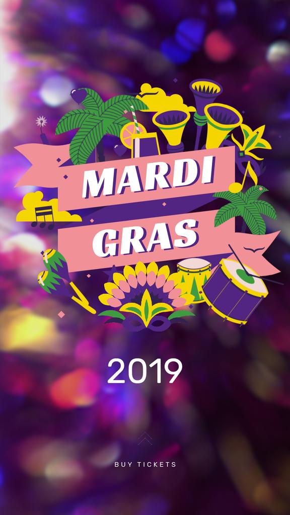 Mardi Gras Carnival Attributes | Vertical Video Template — ein Design erstellen