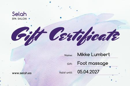 Template di design Spa Salon Offer wirh Blue Watercolor Pattern Gift Certificate
