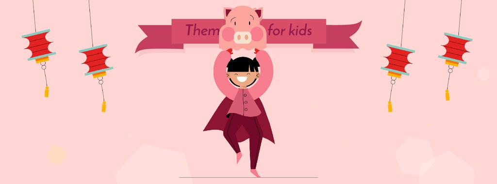 Theme Party for Kids Organization Girl in Pig Costume — Створити дизайн