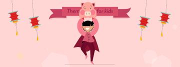 Theme Party for Kids Organization Girl in Pig Costume | Facebook Video Cover Template