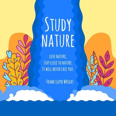 Nature Studies with Beautiful Plants by Waterfall Animated Postデザインテンプレート