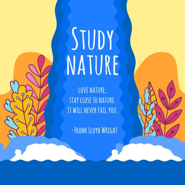 Nature Studies with Beautiful Plants by Waterfall Animated Post Modelo de Design