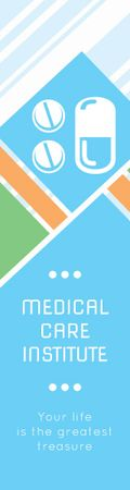 Ontwerpsjabloon van Skyscraper van Medical care institute banner