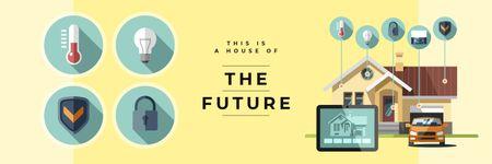 Template di design Smart home concept Twitter